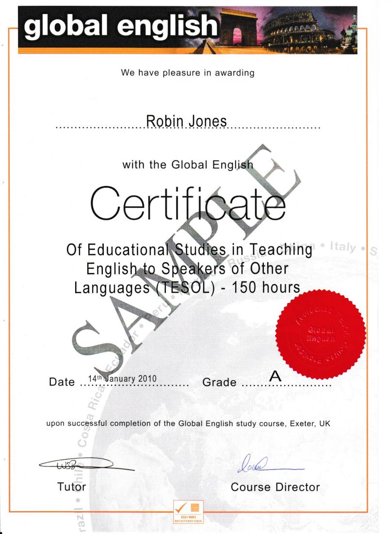 150 Hour Level 4 Tesol Online Global English