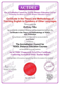 ACTDEC Certificate of Theory and Methodology in TESOL - 250 hours
