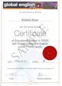 100 hour Global English Certificate with Teaching Business English