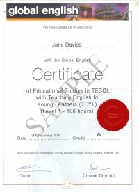 100 hour Global English Certificate of Educational Studies in TESOL with TEYL