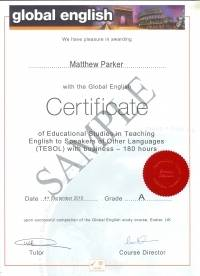 180 hour Global English Certificate in TESOL with Business
