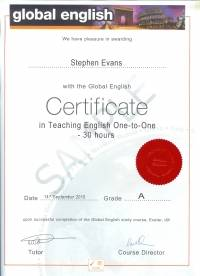Global English 30 hour Teaching English One-to-One certificate