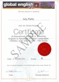 180 hour Global English Certificate in TESOL with One-to-one