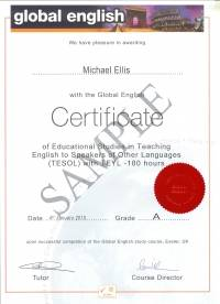 180 hour Global English Certificate in TESOL with TEYL