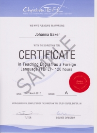 120 hour Christian TEFL certificate in Teaching English as a Foreign Language (TEFL)