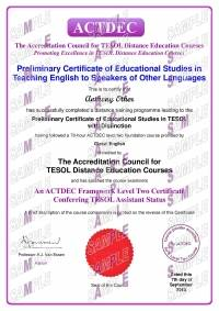 ACTDEC Level 2 Preliminary Certificate of Educational Studies in TESOL