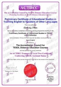 ACTDEC Level 2 Preliminary Certificate of Educational Studies in TESOL