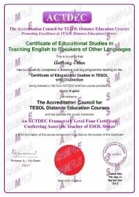 ACTDEC Level 4 Certificate of Educational Studies in TESOL