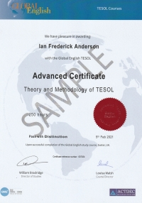Advanced Certificate of Theory and Methodology in TESOL - 250 hours