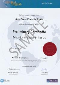 Preliminary Certificate Educational Studies in TESOL - 70 hours