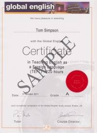 120 hour Global English TEFL Certificate