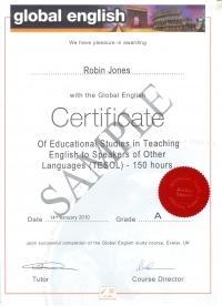 Global English 150 hour Certificate in TESOL