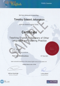 Certificate Teaching English to Speakers of Other Languages and Teaching Practice - 100 hours